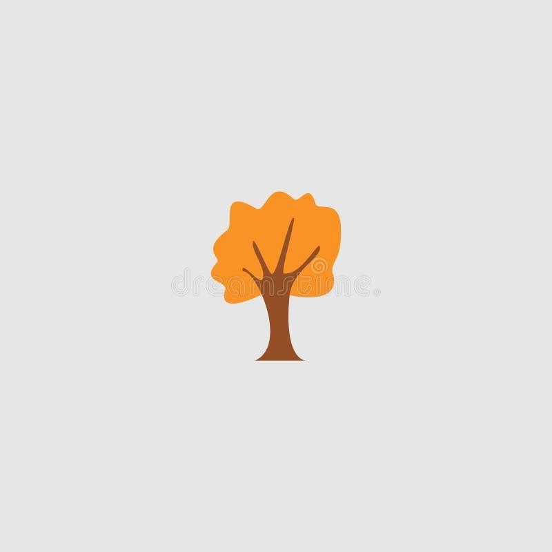 Ejemplo del vector del árbol plano del roble del otoño stock de ilustración