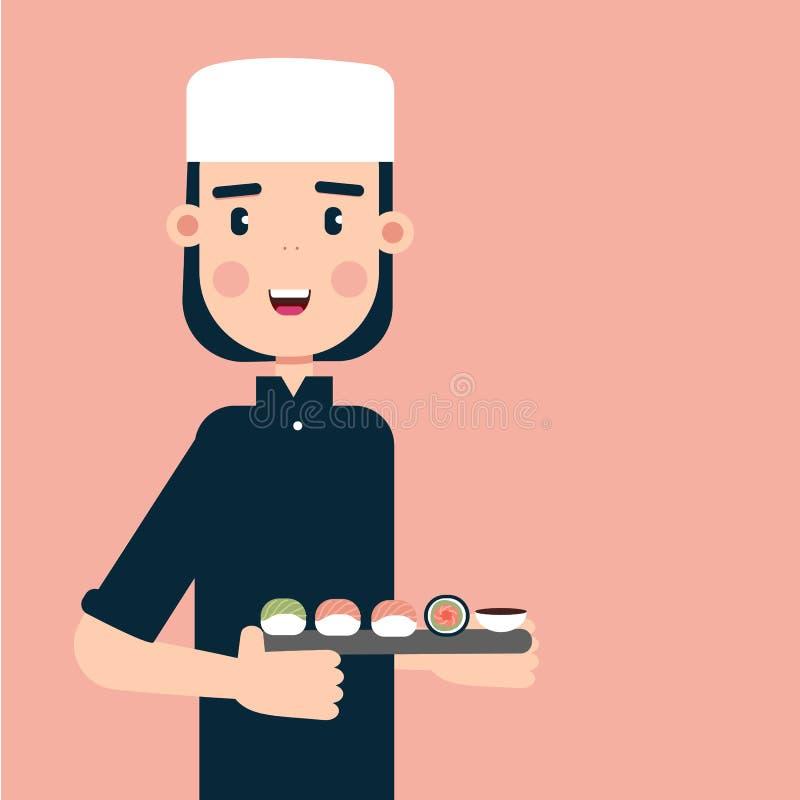 Ejemplo del vector del amo del sushi en estilo plano simple imagen de archivo