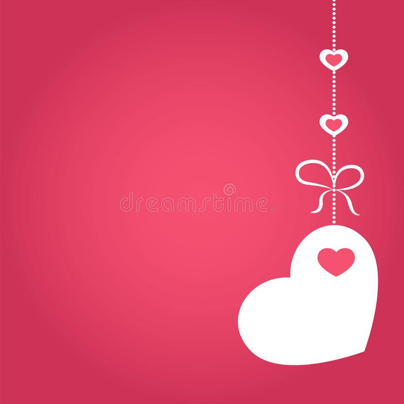 Ejemplo del vector del amor, de la boda o de la bandera de Valentine Day con la decoración en la forma de corazón que cuelga en c libre illustration