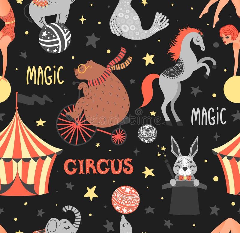 Ejemplo del vector del animal de circo Personajes de dibujos animados lindos Modelo inconsútil libre illustration