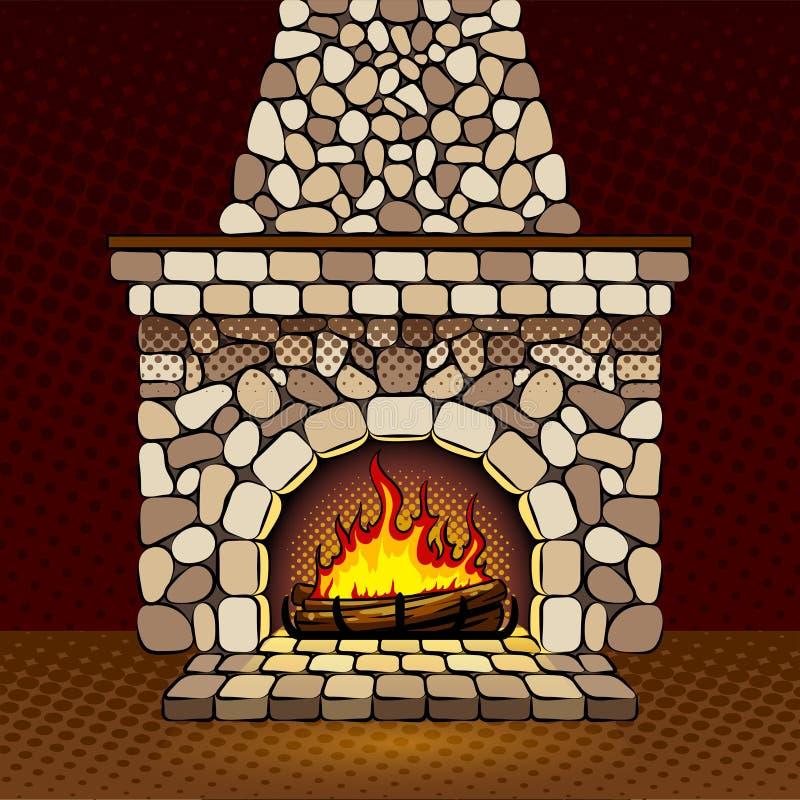 Ejemplo del vector del arte pop de la chimenea en casa libre illustration