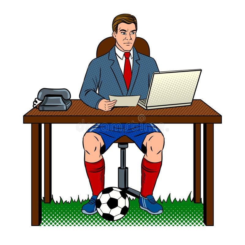 Ejemplo del vector del arte pop del fútbol del hombre de negocios ilustración del vector