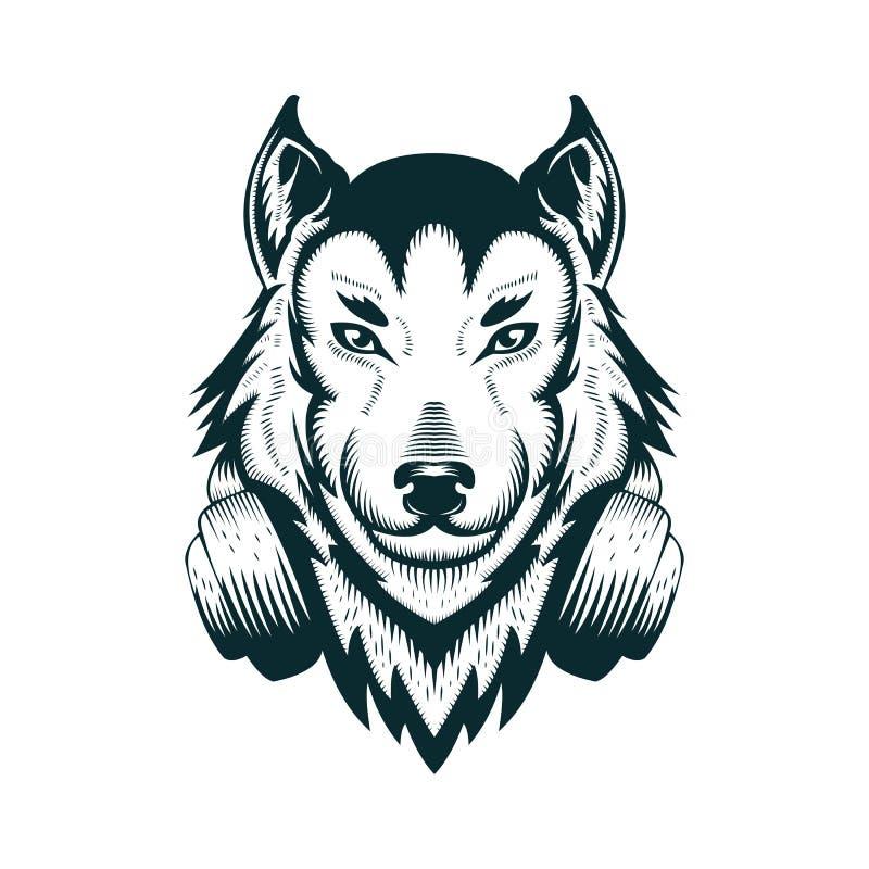 Ejemplo del vector del auricular del lobo de DJ stock de ilustración