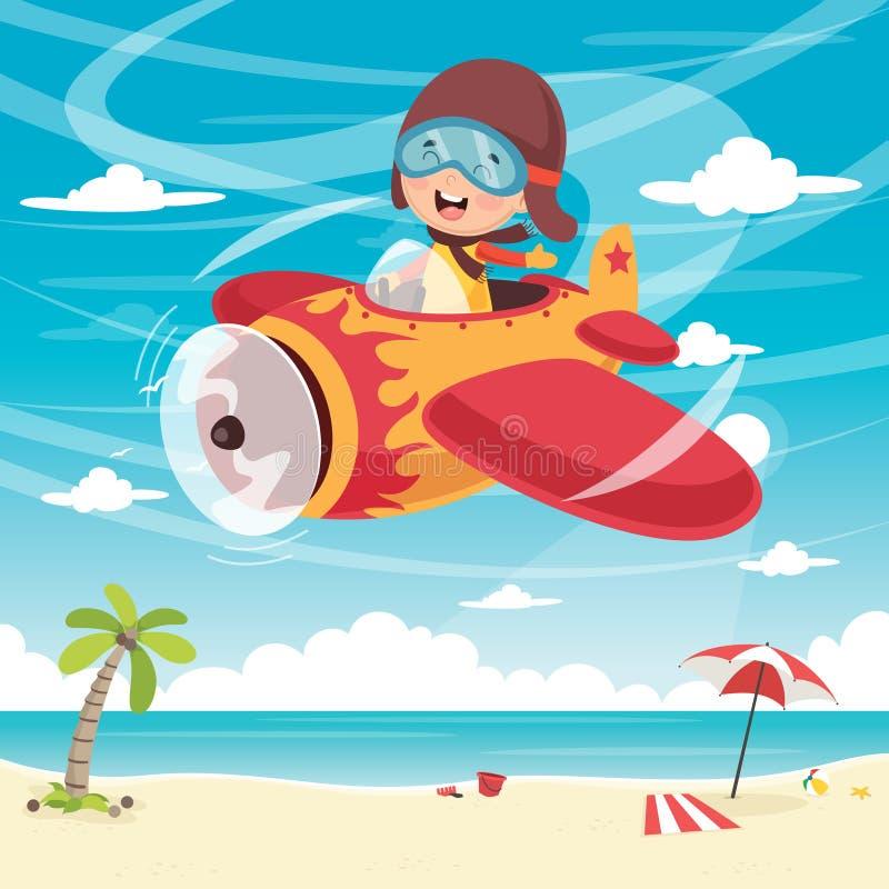 Ejemplo del vector del avión del vuelo del niño libre illustration