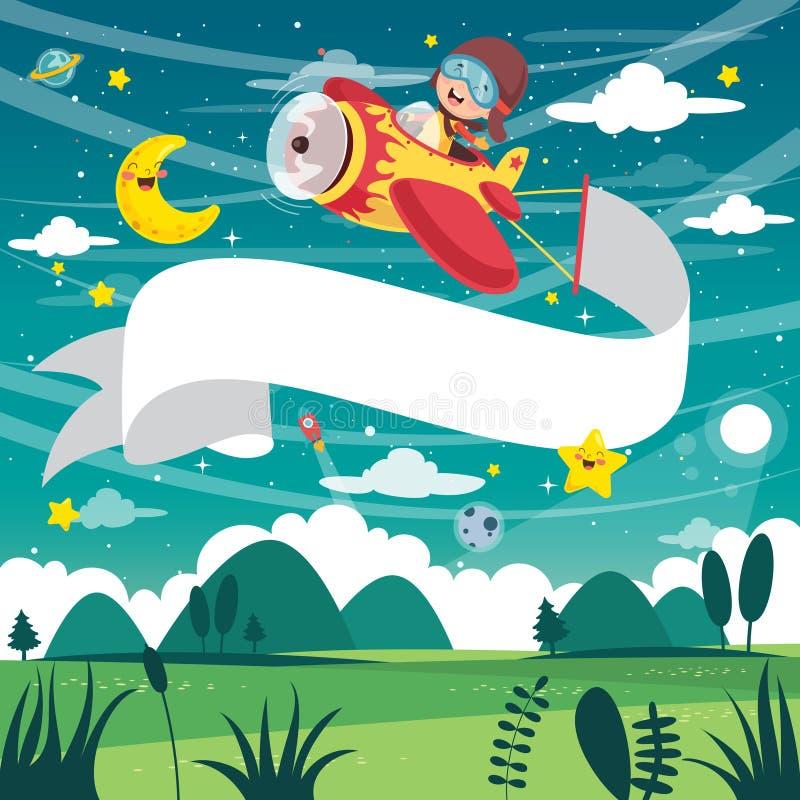 Ejemplo del vector del avión del vuelo del niño con la bandera stock de ilustración