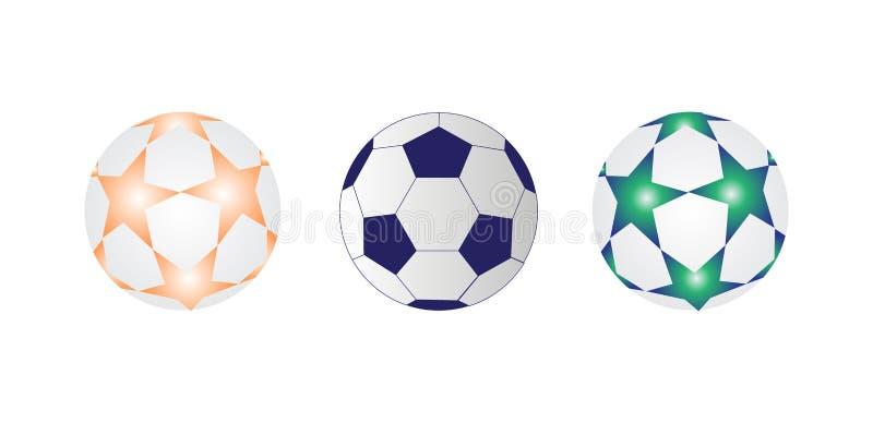 Ejemplo del vector del balón de fútbol tres stock de ilustración