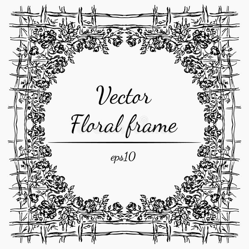 Ejemplo del vector del bastidor abstracto de Rose o de las flores de las peon?as con la cerca en Gray Background Bosquejo exhaust fotos de archivo