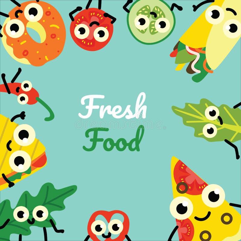Ejemplo del vector del bastidor de la frontera de los alimentos de preparación rápida en bandera cuadrada con las comidas y los p libre illustration