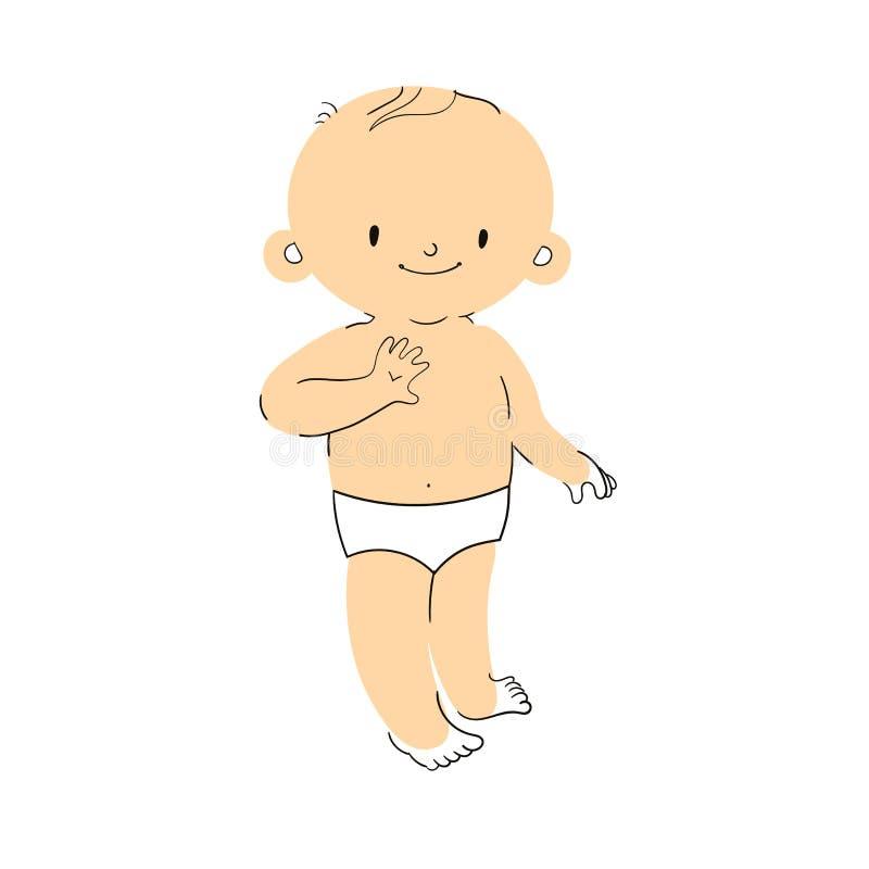 Ejemplo del vector del bebé de la historieta que permanece y que sonríe libre illustration