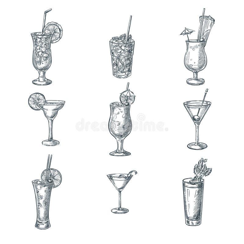 Ejemplo del vector del bosquejo de los cócteles del alcohol Sistema de bebidas y de bebidas dibujadas mano aisladas elementos del stock de ilustración