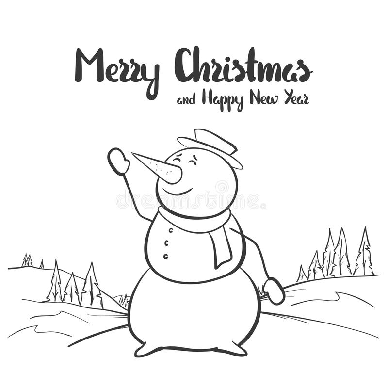 Ejemplo del vector: Bosquejo dibujado mano del invierno con el muñeco de nieve en fondo del paisaje Feliz Navidad y Feliz Año Nue libre illustration