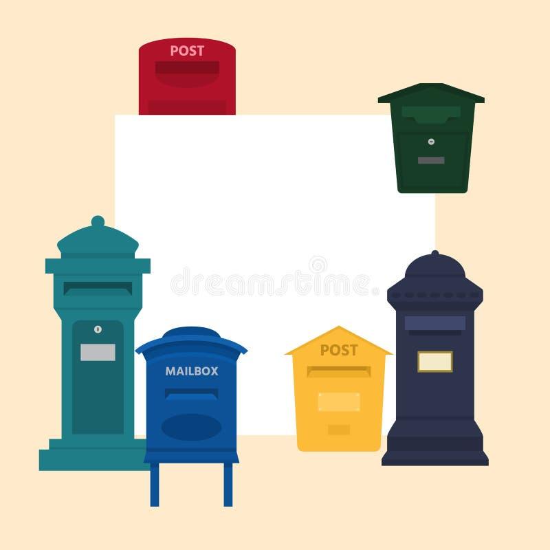 Ejemplo del vector del buzón con el espacio para la bandera del texto Buzón del poste o caja de letra postal de americano o de eu stock de ilustración