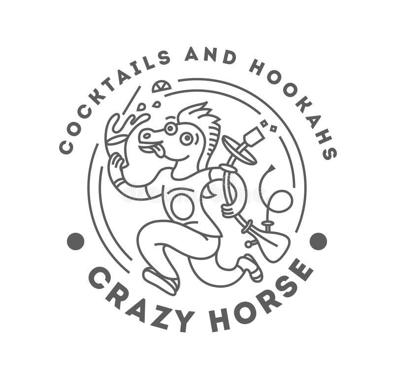Ejemplo del vector del caballo animal de la fantasía con la cachimba y el cóctel stock de ilustración