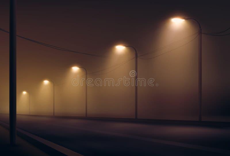 Ejemplo del vector del camino encendido por las linternas en la niebla la noche Alumbrado público en colores calientes libre illustration
