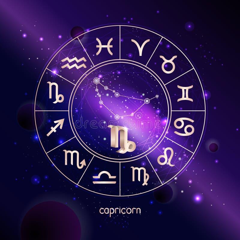 Ejemplo del vector del CAPRICORNIO de la muestra 3D y de la constelación con el círculo del horóscopo contra el fondo del espacio stock de ilustración