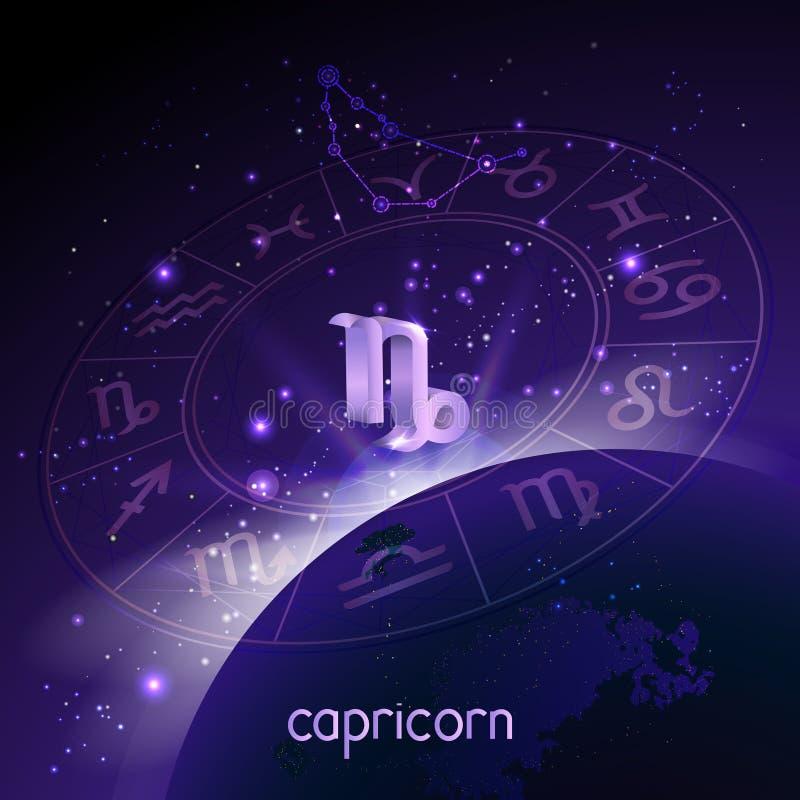 Ejemplo del vector del CAPRICORNIO de la muestra 3D y de la constelación con el círculo del horóscopo en perspectiva contra el fo stock de ilustración