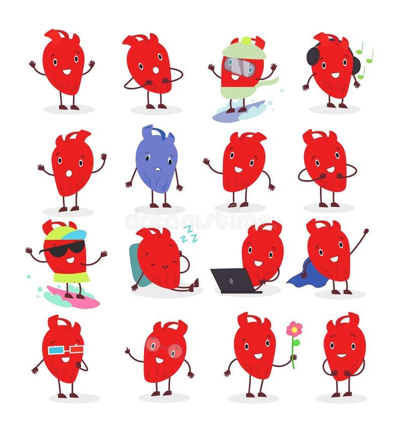 Ejemplo del vector del carácter anatómico lindo del corazón en diversas posiciones y emocional Colección de emoji del corazón ilustración del vector