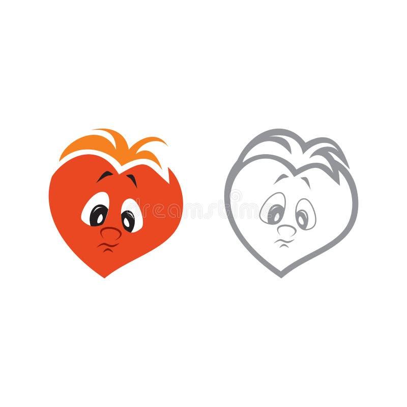 Ejemplo del vector del carácter de un corazón del muchacho triste ilustración del vector
