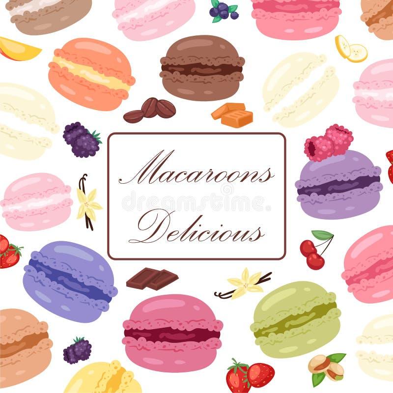 Ejemplo del vector del cartel de la tienda de la panader?a Vida dulce con las galletas y los macarrones de diverso gusto Anuncio  stock de ilustración