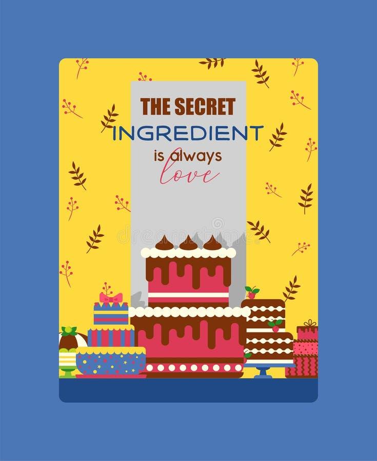Ejemplo del vector del cartel de la torta Chocolate y postres con sabor a fruta para la tienda dulce con las magdalenas frescas y ilustración del vector