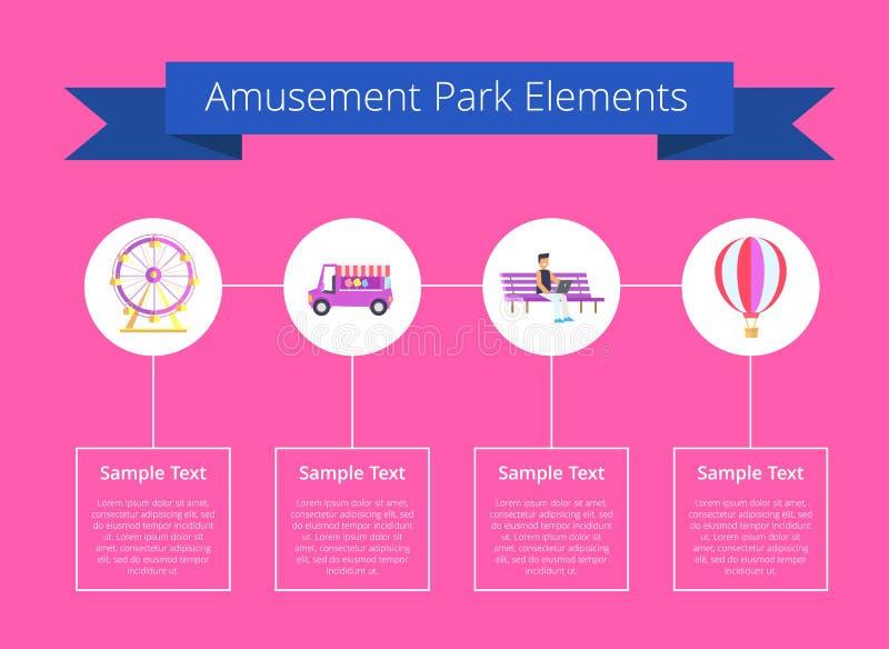 Ejemplo del vector del cartel de los elementos del parque de atracciones stock de ilustración