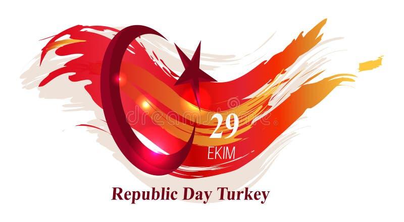 Ejemplo del vector del cartel de Turquía del día de la república stock de ilustración