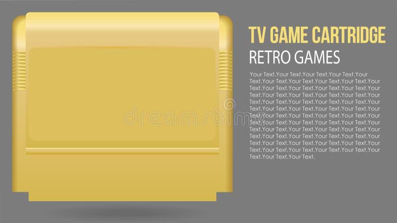 Ejemplo del vector del cartucho de juego retro realista aislado de la TV en estuche de plástico amarillo Juego de la escuela viej stock de ilustración