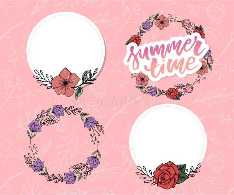 Ejemplo del vector: Cepille poner letras a la composición del sistema de la venta del verano del lema de las vacaciones de verano foto de archivo