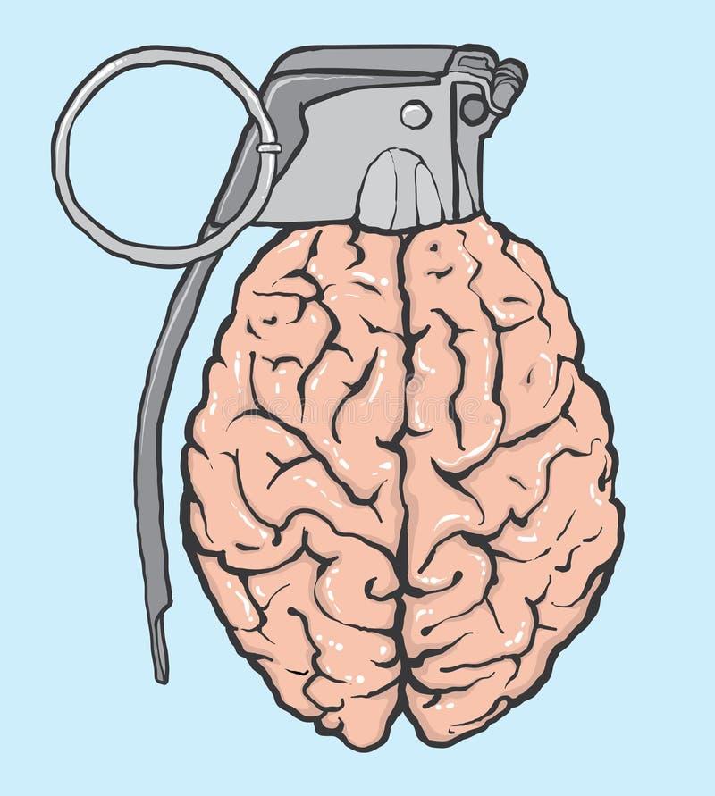 Ejemplo del vector del cerebro de la granada stock de ilustración