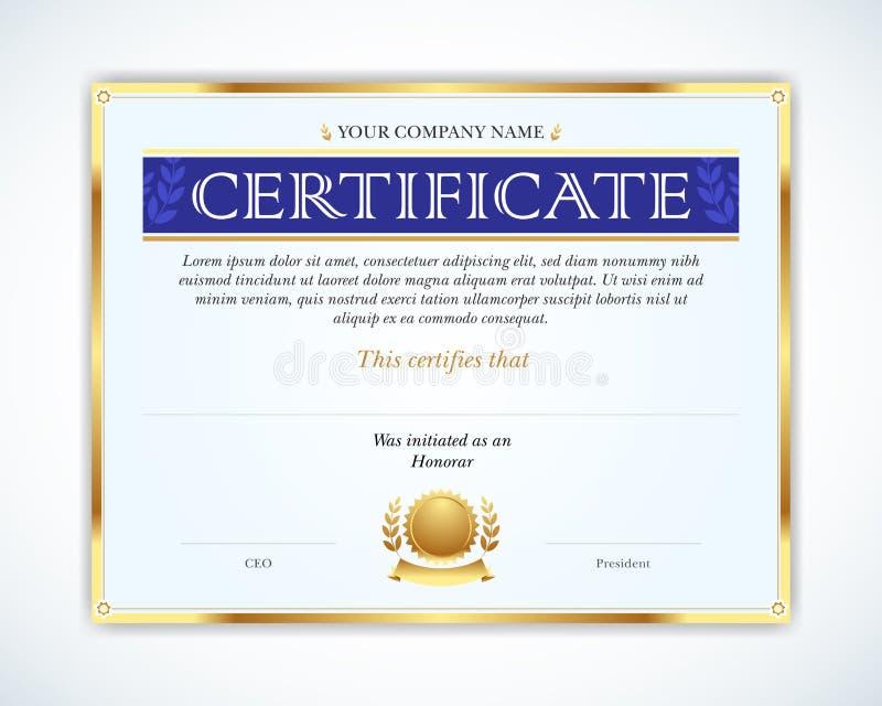 Ejemplo del vector del certificado detallado del oro Plantilla que se utiliza en certificado, moneda y diplomas libre illustration
