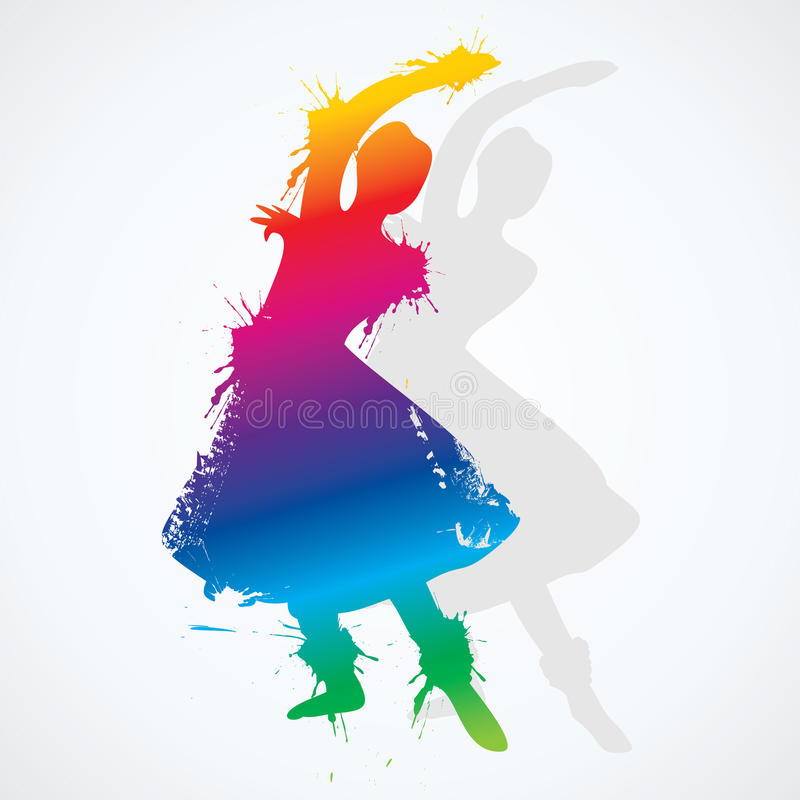 Ejemplo del bailarín clásico indio colorido stock de ilustración