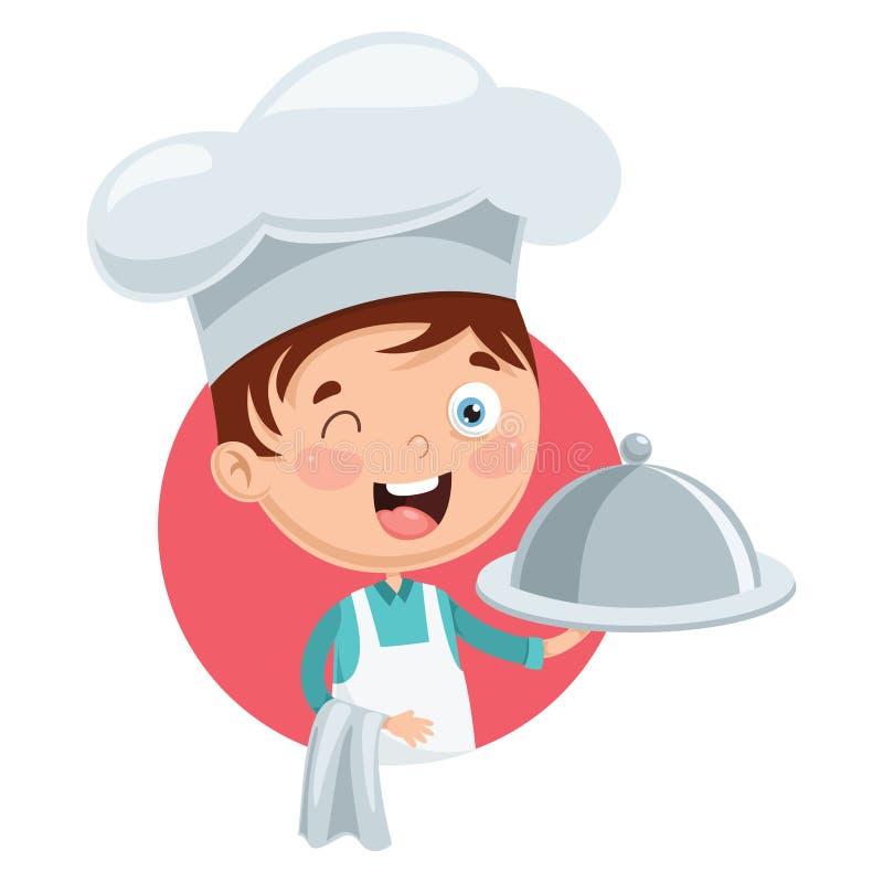 Ejemplo del vector del cocinero Kid Cooking ilustración del vector