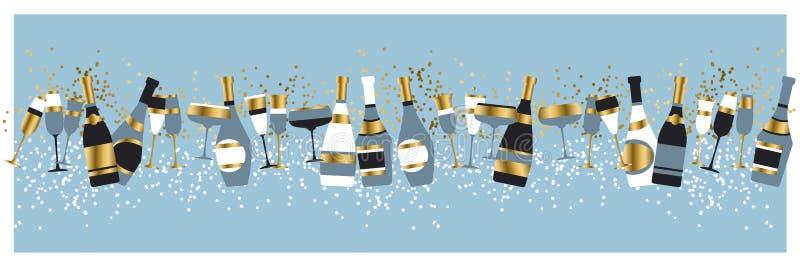 Ejemplo del vector del color de las botellas y de los vidrios de Champán ilustración del vector