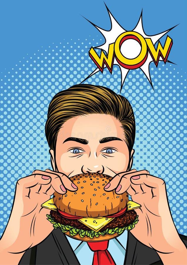 Ejemplo del vector del color de un arte pop antropófago una hamburguesa ilustración del vector