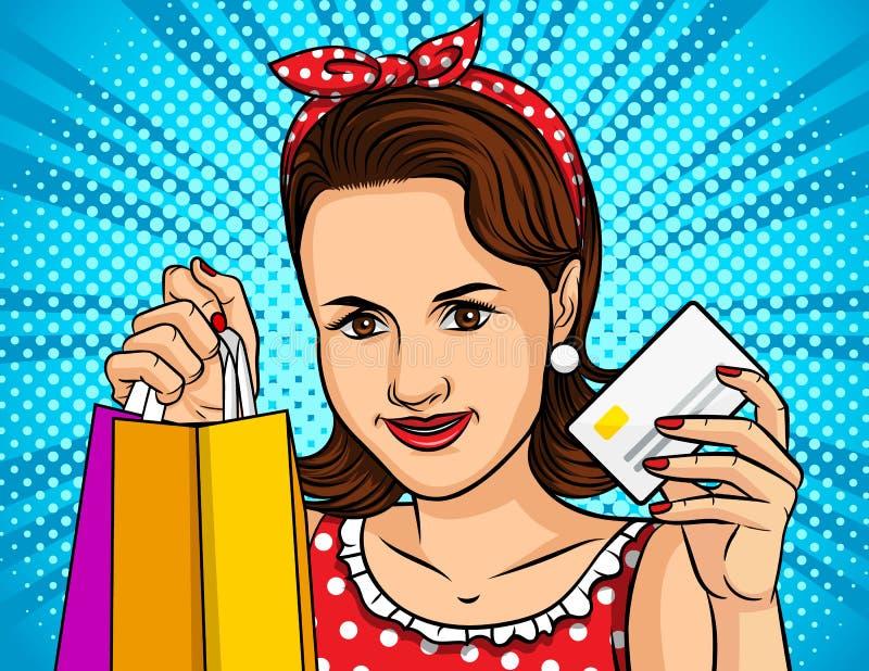 Ejemplo del vector del color de una muchacha del estilo del arte pop que hace compras en línea Una muchacha hermosa lleva a cabo  stock de ilustración