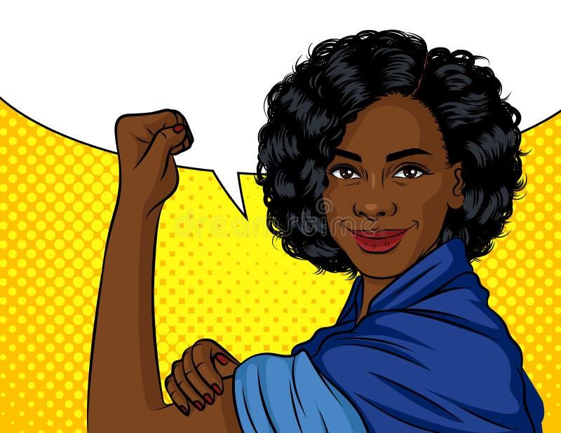 Ejemplo del vector del color en estilo del arte pop Mujer afroamericana que lleva a cabo su mano en un cartel del puño A en el te ilustración del vector
