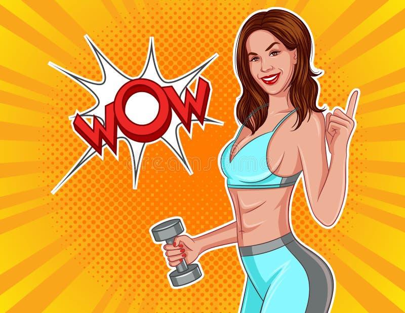 Ejemplo del vector del color en estilo cómico del arte pop Muchacha atlética con pesas de gimnasia en sus manos stock de ilustración