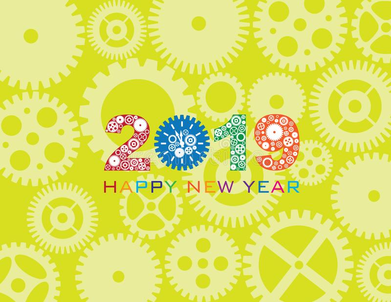 Ejemplo del vector del color del engranaje del reloj de la Feliz Año Nuevo 2019 stock de ilustración