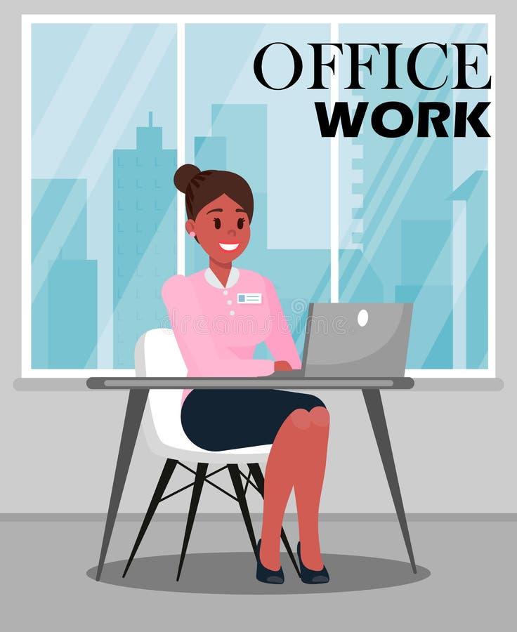 Ejemplo del vector del color del trabajo de oficina con el texto stock de ilustración