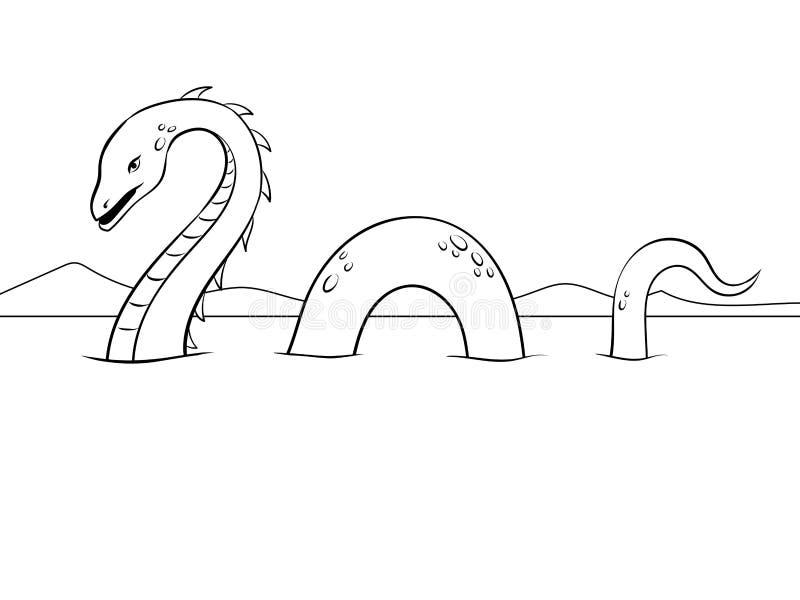 Ejemplo del vector del colorante del monstruo del Nessie libre illustration