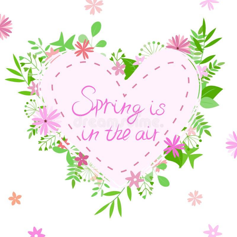 Ejemplo del vector del compuesto con el corazón, las flores, las ramas y la primavera de la inscripción en el aire libre illustration