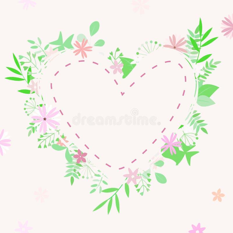Ejemplo del vector del compuesto con el corazón, las flores y las ramas en el fondo blanco y con el lugar para el texto stock de ilustración