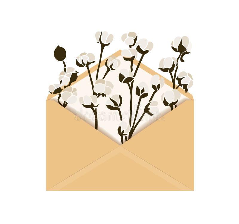 Ejemplo del vector con algodón en sobre fotos de archivo libres de regalías