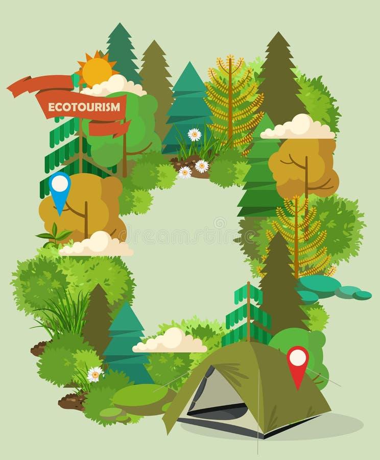 Ejemplo del vector con el bosque y acampar stock de ilustración