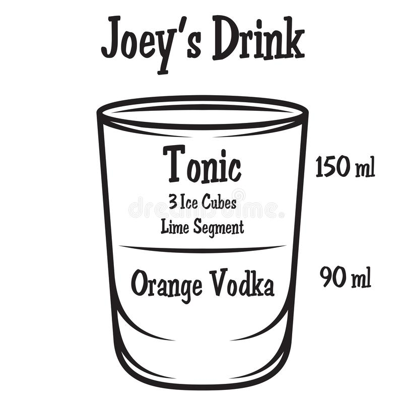 Ejemplo del vector con el cóctel alcohólico en fondo ilustración del vector