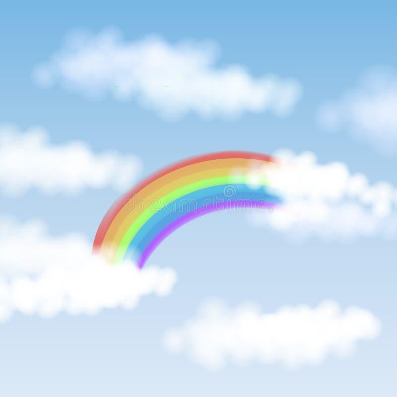 Ejemplo del vector con el cielo azul, las nubes blancas y el arco iris colorido para las tarjetas de saludo de las tarjetas del d fotografía de archivo libre de regalías