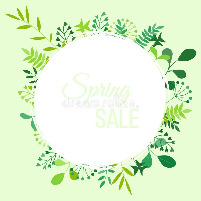 Ejemplo del vector con el compuesto de las flores, de las ramas y de la venta de la primavera de la inscripción stock de ilustración