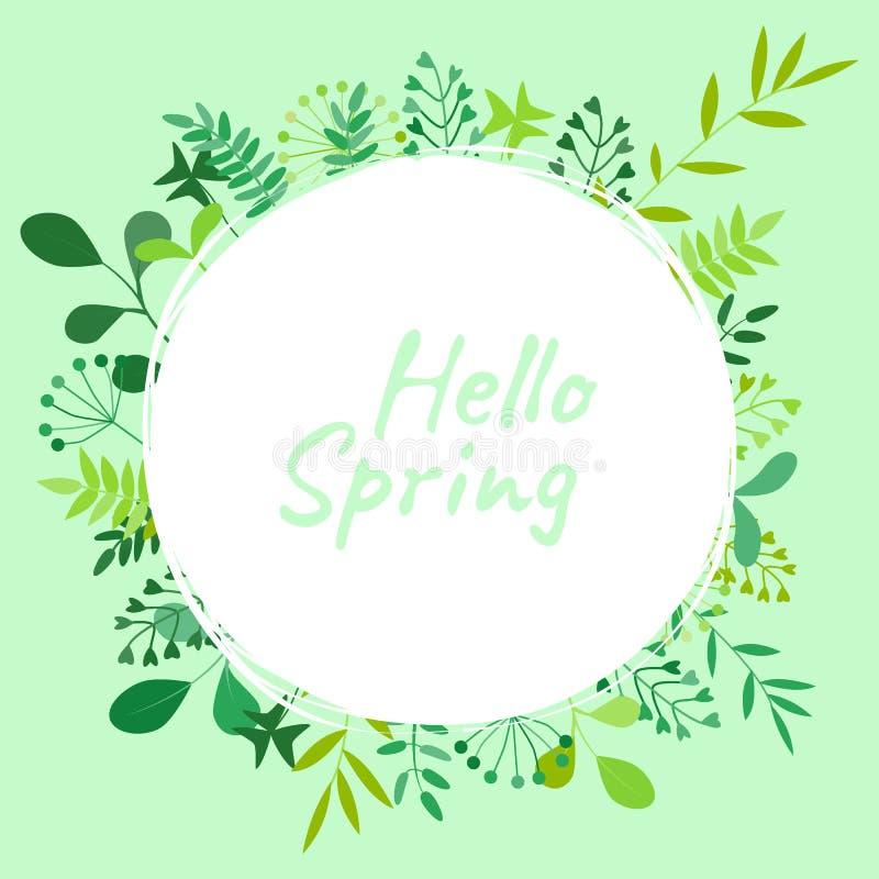 Ejemplo del vector con el compuesto a partir de las flores, de las ramas y de la primavera de la inscripción hola libre illustration