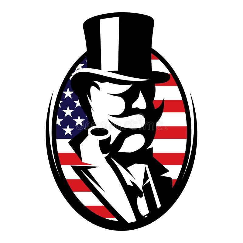 Ejemplo del vector con el hombre y la bandera americana ilustración del vector