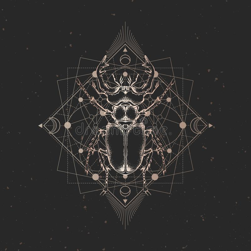 Ejemplo del vector con el insecto exhausto de la mano y símbolo geométrico sagrado en fondo negro del vintage Muestra mística abs ilustración del vector